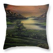 How Green Is My Valley Throw Pillow by Cynthia Adams
