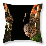 Huge Butterflies In Mindo Throw Pillow by Al Bourassa