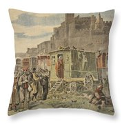 Hungarian Gypsies Outside Carcassonne Throw Pillow by French School