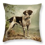 Hunting Dog Circa 1879 Throw Pillow by Aged Pixel