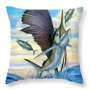 Hunting Of Small Tunas Throw Pillow by Terry Fox
