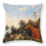 Hunting Scene Throw Pillow by Bernard Edouard Swebach