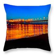 Huntington Beach Pier - Nightside Throw Pillow by Jim Carrell