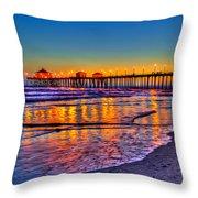 Huntington Beach Pier Sundown Throw Pillow by Jim Carrell