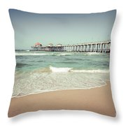 Huntington Beach Pier Vintage Toned Photo Throw Pillow by Paul Velgos