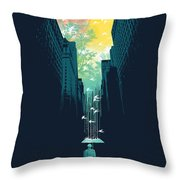 I want my blue sky Throw Pillow by Budi Kwan