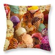Ice Cream Crazy Throw Pillow by Alixandra Mullins