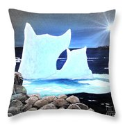 Icebergs At Sunset Throw Pillow by Barbara Griffin