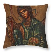 Icon Of Archangel Michael - Painting On The Wood Throw Pillow by Nenad Cerovic