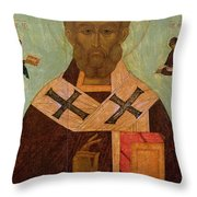 Icon Of St. Nicholas Throw Pillow by Russian School