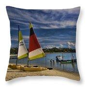 Idyllic Thai Beach Scene Throw Pillow by David Smith