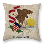 Illinois State Flag Throw Pillow by Pixel Chimp