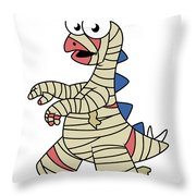 Illustration Of A Stegosaurus Dressed Throw Pillow by Stocktrek Images