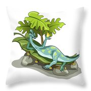 Illustration Of An Iguanodon Sunbathing Throw Pillow by Stocktrek Images
