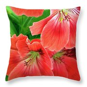 In The Garden. Geranium Throw Pillow by Ben and Raisa Gertsberg