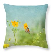 In The Garden - Monarch Butterfly Throw Pillow by Kim Hojnacki