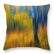 In The Golden Woods. Impressionism Throw Pillow by Jenny Rainbow
