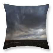 Incoming Storm Over A Cotton Field Throw Pillow by Melany Sarafis