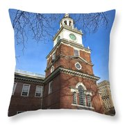 Independence Hall Bell Tower Throw Pillow by Olivier Le Queinec