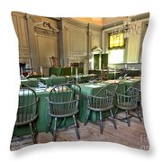 Independence Hall Throw Pillow by Olivier Le Queinec