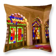 India, Stained Glass Windows Of Fort Throw Pillow by Bill Bachmann