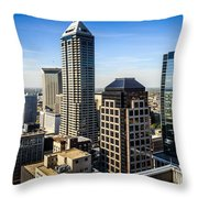 Indianapolis Aerial Picture Of Downtown Office Buildings Throw Pillow by Paul Velgos