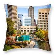 Indianapolis Skyline Picture Of Canal Walk In Autumn Throw Pillow by Paul Velgos