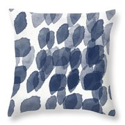 Indigo Rain- Abstract Blue And White Painting Throw Pillow by Linda Woods