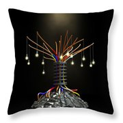 Industrial Future Tree Throw Pillow by Allan Swart