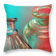 Ink Bottles On Color Throw Pillow by Carol Leigh