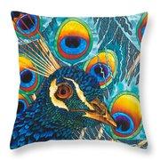 Insane Peacock Throw Pillow by Daniel Jean-Baptiste