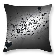 Inside The Asteroid Belt Against The Sun Throw Pillow by Johan Swanepoel