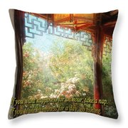Inspirational - Happiness - Simply Chinese Throw Pillow by Mike Savad