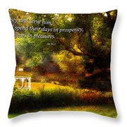 Inspirational - Prosperity - Job 36-11 Throw Pillow by Mike Savad