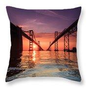 Into Sunrise - Bay Bridge Throw Pillow by Jennifer Casey