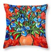 Iris Bouquet Throw Pillow by Ana Maria Edulescu