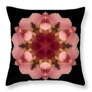 Iris Germanica Flower Mandala Throw Pillow by David J Bookbinder