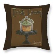 Irish Cream Cupcake Throw Pillow by Catherine Holman