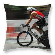 Ironman Flying Throw Pillow by Bob Christopher