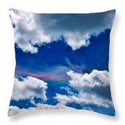 Irridescent Rainbows Among The Clouds Throw Pillow by Janice Rae Pariza