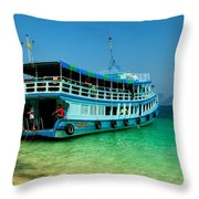 Island Ferry  Throw Pillow by Adrian Evans