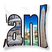 Istanbul Word Montage Throw Pillow by Antony McAulay