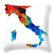 Italy - Italian Map by Sharon Cummings Throw Pillow by Sharon Cummings