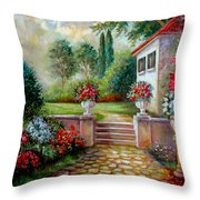 Italyan Villa With Garden  Throw Pillow by Regina Femrite