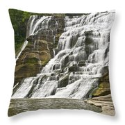 Ithaca Falls Throw Pillow by Anthony Sacco