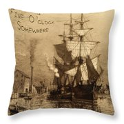 It's Five O'clock Somewhere Schooner Throw Pillow by John Stephens