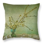 Ivory And Turquoise Throw Pillow by Priska Wettstein