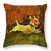 jack russell in autumn Throw Pillow by Jane Schnetlage