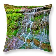 Jackson Falls At Mile 405 Natchez Trace Parkway-tennessee Throw Pillow by Ruth Hager