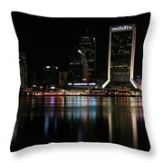Jacksonville Skyline At Night Throw Pillow by Georgia Fowler